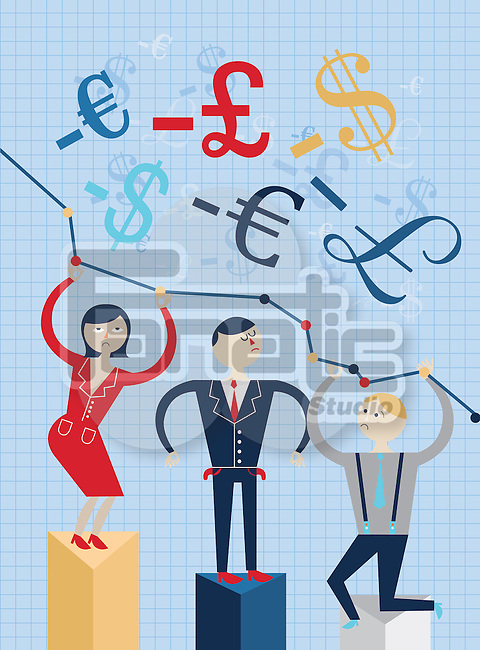 Illustrative image of businesspeople standing on graph representing economic crisis