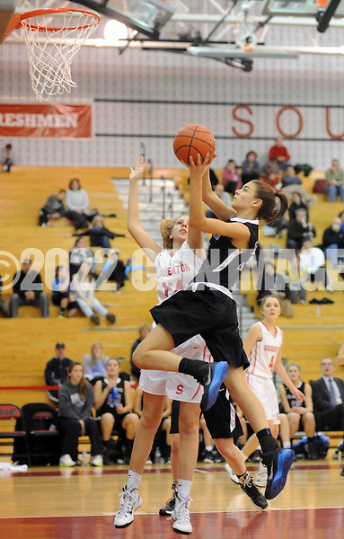 FRANCONIA, PA. - JANUARY 30: Central Bucks South's Haley Meinel drives towards the basket as Souderton's Noelle Noble defends in the third quarter January 30, 2015 at Souderton High School in Franconia, Pennsylvania. (Photo by William Thomas Cain/Cain Images)