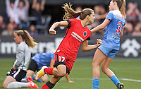 Portland, Oregon - Wednesday June 22, 2016: Portland Thorns FC midfielder Tobin Heath (17) reacts after Christine Sinclair scored a goal during a regular season National Women's Soccer League (NWSL) match at Providence Park.