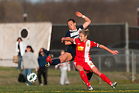 Sky Blue FC midfielder Brittany Bock (10) and Western New York Flash midfielder McCall Zerboni (7). Sky Blue FC defeated the Western New York Flash 1-0 during a National Women's Soccer League (NWSL) match at Yurcak Field in Piscataway, NJ, on April 14, 2013.