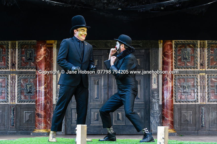 """Shakespeare's Globe presents ROMEO AND JULIET, by WIlliam Shakespeare, directed by Daniel Kramer, as part of Emma Rice's """"Summer of Love"""" season. Picture shows: Tim Chipping (Paris), Gareth Snook (Lord Capulet)"""