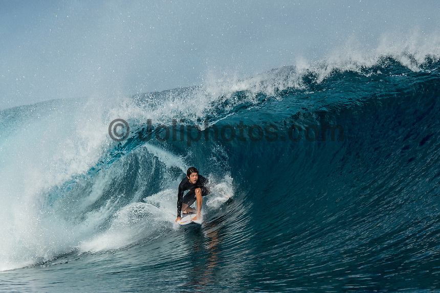 Namotu Island Resort, Nadi, Fiji (Sunday, June 12 2016): Kanoa Igarashi (USA) - The Fiji Pro, stop No. 5 of 11 on the 2016 WSL Championship Tour, was called off again today due to the lack of contestable swell at Cloudbreak. The contest is still facing a number of lay days due to the small surf conditions.  There was a slight increase in the swell this morning and the winds had moved back to light Trades. Photo: joliphotos.com