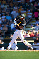 Pittsburgh Pirates first baseman Josh Bell (55) at bat during a Spring Training game against the Boston Red Sox on March 9, 2016 at McKechnie Field in Bradenton, Florida.  Boston defeated Pittsburgh 6-2.  (Mike Janes/Four Seam Images)