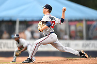 Rome Braves starting pitcher Walker Borkovich (33) delivers a pitch during a game against the Asheville Tourists at McCormick Field on September 2, 2018 in Asheville, North Carolina. The Braves defeated the Tourists 2-1. (Tony Farlow/Four Seam Images)