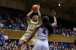 DURHAM, NC - FEBRUARY 01: Georgia Tech's Kaylan Pugh (1) shoots over Duke's Lexie Brown (4). The Duke University Blue Devils hosted the Georgia Tech University Yellow Jackets on February 1, 2018 at Cameron Indoor Stadium in Durham, NC in a Division I women's college basketball game. Duke won the game 77-59.