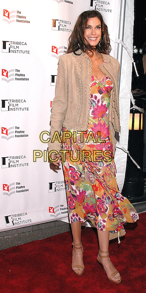 TERI HATCHER.Arrivals at the Tribeca All Access Awards, part of the Tribeca Film Festival in downtown Manhattan,  New York City, New York, USA, 28th April 2005..full length beige cream jacket pink orange floral flower patterned print dress brown bag .Ref: ADM.www.capitalpictures.com.sales@capitalpictures.com.©Patti Ouderkirk/AdMedia/Capital Pictures.