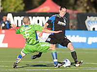 Sam Cronin of Earthquakes in action during the game against the Sounders at Buck Shaw Stadium in Santa Clara, California on July 31st, 2010.   Seattle Sounders defeated San Jose Earthquakes, 1-0.