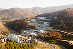 Olympic Sliding Centre, Oct 30, 2017 : Olympic Sliding Centre of the 2018 PyeongChang Winter Olympics is seen in PyeongChang, east of Seoul, South Korea. The 23rd Winter Olympics will be held for 17 days from February 9 - 25, 2018. The opening and closing ceremonies and most snow sports will take place in PyeongChang county. Jeongseon county will host Alpine speed events and ice sports will be held in the coast city of Gangneung. (Photo by Lee Jae-Won/AFLO) (SOUTH KOREA)