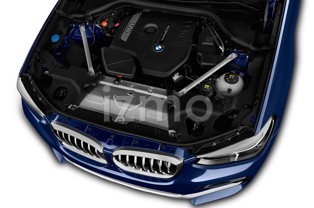Car stock 2019 BMW X4 xDrive30i 5 Door SUV engine high angle detail view