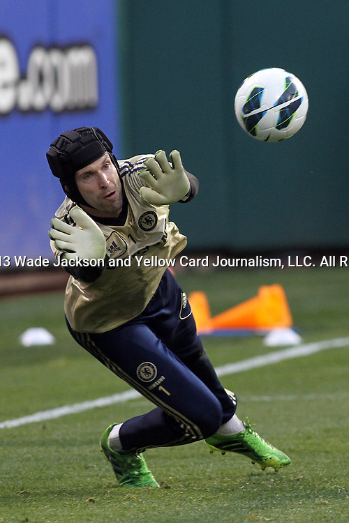 22 May 2013:  Petr Cech (1)(CZE) of Chelsea.  Chelsea F.C. practice session in preparation for an exhibition match against Manchester City at Busch Stadium in Saint Louis, Missouri.