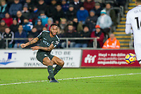 Raheem Sterling of Manchester City shoots at goal during the EPL - Premier League match between Swansea City and Manchester City at the Liberty Stadium, Swansea, Wales on 13 December 2017. Photo by Mark  Hawkins / PRiME Media Images.