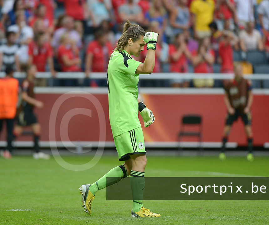 20130728 - Solna , Sweden : German goalkeeper Nadine Angerer pictured during the female soccer match between Germany and Norway , in the final of the UEFA Women's Euro Championship 2013  at the Friends Arena  , Solna Stockholm . Sunday 28th July 2013. PHOTO DAVID CATRY