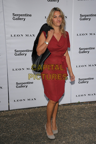 Tracey Emin.Serpentine Galley Summer Party, Kensington Palace Gardens, London, England..26th June 2012.full length red dress grey gray shoes black jacket over shoulder bag purse  .CAP/PL .©Phil Loftus/Capital Pictures.