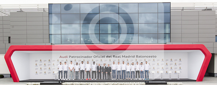 Spanish director of Audi, Guillermo Fadda, Florentino Fernandez, president of the Real Madrid CF and the team of basketball of the Real Madrid during the Audi Car delivery, at the basketball players of the Real Madrid. May 25,2016. (ALTERPHOTOS/Rodrigo Jimenez)