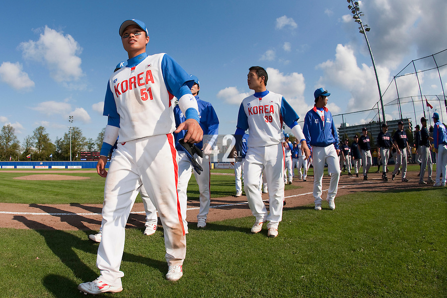 14 September 2009: Team South Korea is seen at the end of the 2009 Baseball World Cup Group F second round match game won 15-5 by South Korea over Great Britain, in the Dutch city of Amsterdan, Netherlands.