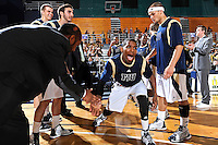 28 January 2012:  FIU guard Jeremy Allen (32) is introduced prior to the game.  The Western Kentucky University Hilltoppers defeated the FIU Golden Panthers, 61-51, at the U.S. Century Bank Arena in Miami, Florida.