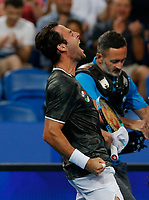 7th January 2020; RAC Arena, Perth, Western Australia; ATP Cup Australia, Perth, Day 5; USA versus Italy; Stefano Travaglia of Italy celebrates defeating Taylor Fritz of the USA in straight sets - Editorial Use
