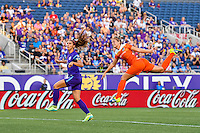 Orlando, FL - Thursday June 23, 2016: Alex Morgan, Ellie Brush during a regular season National Women's Soccer League (NWSL) match between the Orlando Pride and the Houston Dash at Camping World Stadium.