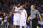 MILWAUKEE, WI - MARCH 18: Butler Bulldogs forward Tyler Wideman (4) and Butler Bulldogs guard Tyler Lewis (1) converse on a timeout during the second half of the 2017 NCAA Men's Basketball Tournament held at BMO Harris Bradley Center on March 18, 2017 in Milwaukee, Wisconsin. (Photo by Jamie Schwaberow/NCAA Photos via Getty Images)