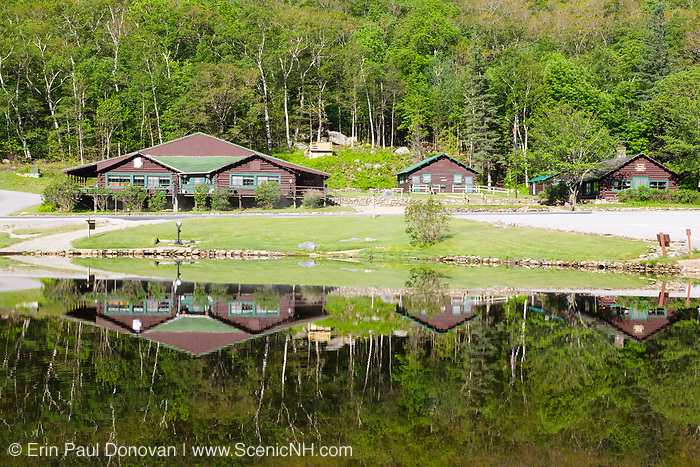 Crawford Notch State Park - Reflection of Willey House Historical Site in Willey Pond in the White Mountains, New Hampshire USA.