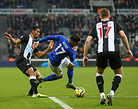 1st January 2020; St James Park, Newcastle, Tyne and Wear, England; English Premier League Football, Newcastle United versus Leicester City; Ayoze Perez of Leicester City is fouled right on the edge of the penalty box by Isaac Hayden of Newcastle United - Strictly Editorial Use Only. No use with unauthorized audio, video, data, fixture lists, club/league logos or 'live' services. Online in-match use limited to 120 images, no video emulation. No use in betting, games or single club/league/player publications