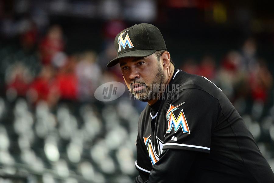 Aug. 22, 2012; Phoenix, AZ, USA: Miami Marlins manager Ozzie Guillen prior to the game against the Arizona Diamondbacks at Chase Field. Mandatory Credit: Mark J. Rebilas-