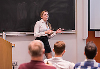 Economics student Eva Schifini presents her senior comprehensive results on February 13, 2017. <br /> <br /> (Photo by Nick Harrington, Occidental College Class of 2017)