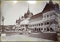 BNPS.co.uk (01202 558833)<br /> Pic: 25BlytheRoad/BNPS<br /> <br /> The exterior of the King&rsquo;s Palace, Bangkok.<br /> <br /> Stunning 125 year-old pictures of Thailand which showcase the tropical paradise long before it became a tourist hot-spot have emerged.<br /> <br /> The collection of photographs from the early 1890s include images of the King's birthday celebrations in 1892, the King's palace and the Bangkok architecture.<br /> <br /> Also included in the collection are photographs of Hong Kong under British crown rule in 1895 including of British seamen, the Hong Kong cricket team and the native army.<br /> <br /> The photo album will go under the hammer on January 25 and is tipped to sell for &pound;1,500.<br /> <br /> The owner of the album is believed to have been a member of the Royal Engineers or connected with them.<br /> <br /> The fascinating photos provide a snapshot of Thailand under the rule of King Chulalongkorn.<br /> <br /> He was the first Siamese king to have a full western education, having been taught by British governess Anna Leonowens whose memoirs were transported to the silver screen in the famous film The King and I.