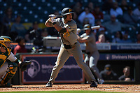 Austin James (23) of the Missouri Tigers at bat against the Baylor Bears in game one of the 2020 Shriners Hospitals for Children College Classic at Minute Maid Park on February 28, 2020 in Houston, Texas. The Bears defeated the Tigers 4-2. (Brian Westerholt/Four Seam Images)