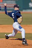 Starting pitcher Nick Lomascolo #5 of the Catawba Indians in action versus the Shippensburg Red Raiders on February 14, 2010 in Salisbury, North Carolina.  Photo by Brian Westerholt / Four Seam Images