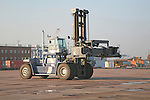 Container handling crane loader, Port of Felixstowe, Suffolk, England