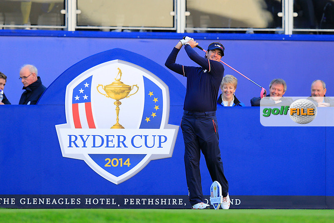 Bubba Watson (USA) warms up on the 1st tee before Saturday Mornings Fourball Matches of the Ryder Cup 2014 played on the PGA Centenary Course at the Gleneagles Hotel, Auchterarder, Scotland.: Picture Eoin Clarke, www.golffile.ie: 27th September 2014