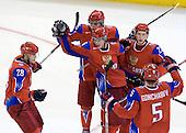 Nikita Filatov (Russia - 28), Evgeni Grachev (Russia - 15), Sergei Andronov (Russia - 16), Maxim Chudinov (Russia - 27), Maxim Goncharov (Russia - 5) - Canada defeated Russia 6-5 on Saturday, January 3, 2009, at Scotiabank Place in Kanata (Ottawa), Ontario during the 2009 World Junior Championship.