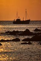Europe/France/Bretagne/29/Finistère/Baie des Trépassés: Bateau de pêche au soleil couchant