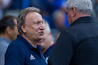 Cardiff City manager Neil Warnock greets Aston Villa manager Steve Bruce ahead of the Sky Bet Championship match between Cardiff City and Aston Villa at the Cardiff City Stadium, Cardiff, Wales on 12 August 2017. Photo by Mark  Hawkins / PRiME Media Images.