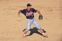 Peoria Chiefs third baseman Danny Diekroeger (7) throws to first during a game against the Wisconsin Timber Rattlers on April 12th, 2015 at Fox Cities Stadium in Appleton, Wisconsin.  Peoria defeated Wisconsin 11-1.  (Brad Krause/Four Seam Images)