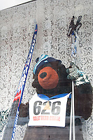 Skiing bear in a shop window of a downtown Calumet Michigan business.