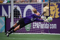 Orlando, FL - Sunday July 10, 2016: Kaitlyn Savage prior to a regular season National Women's Soccer League (NWSL) match between the Orlando Pride and the Boston Breakers at Camping World Stadium.