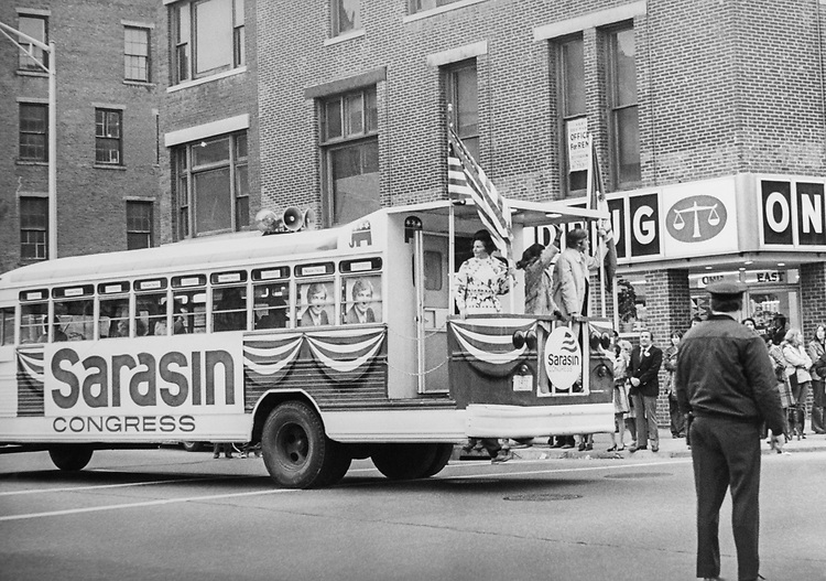 Congressional election Mrs. Sarasin ride platform of uniquiz campaign, Whistle stop nis in waterbury parade in 1972. (Photo by CQ Roll Call)