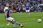 16.03.2019, VELTINS-Arena, Gelsenkirchen, GER, DFL, 1. BL, FC Schalke 04 vs RB Leipzig, DFL regulations prohibit any use of photographs as image sequences and/or quasi-video<br /> <br /> im Bild Strafraumszene . Torchance von Jeffrey Bruma-van Homoet (#27 FC Schalke 04)<br /> <br /> Foto © nph/Mauelshagen