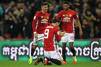 Zlatan Ibrahimovic (C) with Marcos Rojo (L) and Marcus Rashford of Manchester United at the sound of the final whistle <br /> Londra Wembley Stadium Southampton vs Manchester United - EFL League Cup Finale - 26/02/2017 <br /> Foto Phcimages/Panoramic/Insidefoto