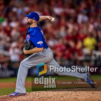6 October 2017: Chicago Cubs pitcher Wade Davis on the mound in the 9th inning of the first game of the NLDS against the Washington Nationals at Nationals Park in Washington, DC. The Cubs shut out the Nationals 3-0 to take a 1-0 lead in their best of five Postseason series. Mandatory Credit: Ed Wolfstein Photo *** RAW (NEF) Image File Available ***