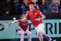 Kei Nishikori (JAP), MARCH 06, 2016 - Tennis : Kei Nishikori (JAP) during the Davis Cup by PNB Paribas , World Group first round fourth rubber between Great Britain and Japan at The Barclaycard Arena, Birmingham, United Kingdom. (Photo by Rob Munro/AFLO)