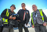 Motorsport photographers Geoff Ridder, Bruce Jenkins and Euan Cameron at the New Zealand Grand Prix practice day at Manfeild Autocourse in Feilding, New Zealand on Friday, 10 February 2017. Photo: Dave Lintott / lintottphoto.co.nz