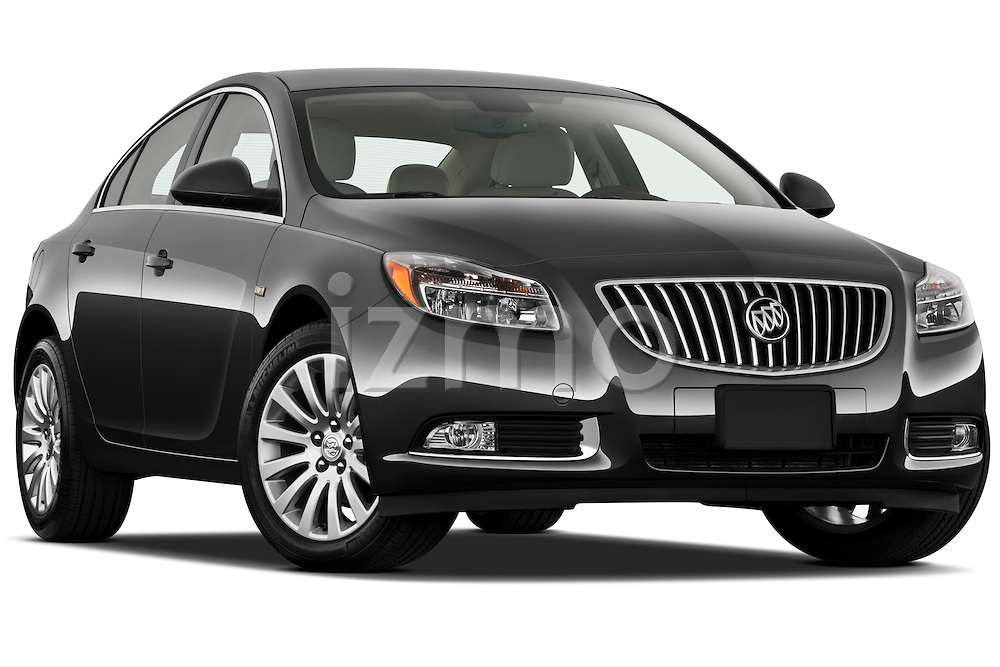 Low aggressive passenger side front three quarter view of a 2011 Buick Regal CXL Sedan