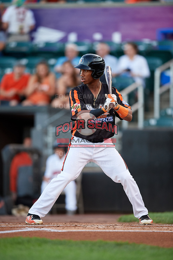 Aberdeen IronBirds third baseman Jean Carmona (37) at bat during a game against the Staten Island Yankees on August 23, 2018 at Leidos Field at Ripken Stadium in Aberdeen, Maryland.  Aberdeen defeated Staten Island 6-2.  (Mike Janes/Four Seam Images)