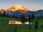 Mount Rainier National Park, WA: Dawn light on Mount Rainier with reflections on Upper Tipsoo Lake