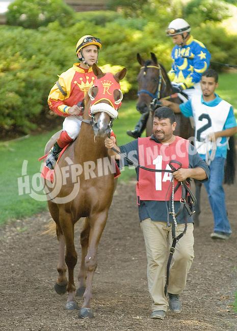 Sand Blastt before The Alec Courtelis Juvenile Arabian Stakes at Delaware Park on 7/9/12