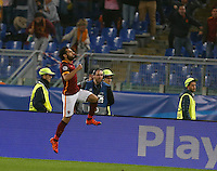 AS Roma's Mohamed Salah celebrates after scoring during the Champions League Group E soccer match between As Roma and  Bayer Leverkusen at the Olympic Stadium in Rome, November 04 2015