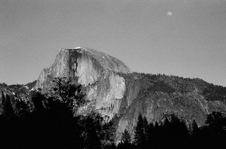 Moon Over Half Dome , Yosemite, Ilford Delta Film
